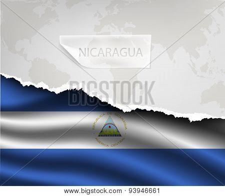 Paper With Hole And Shadows Nicaragua Flag
