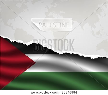 Paper With Hole And Shadows Palestine Flag