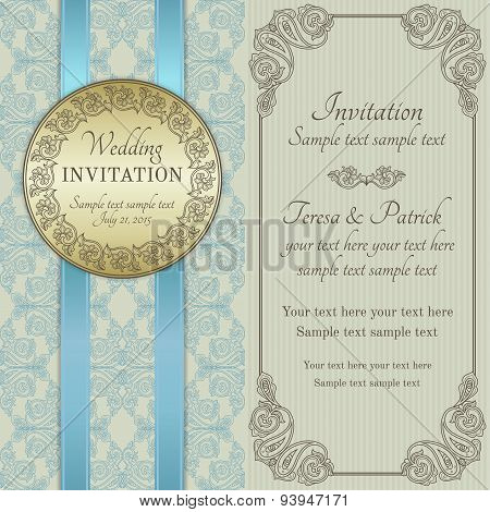 Baroque wedding invitation, gold, blue and beige
