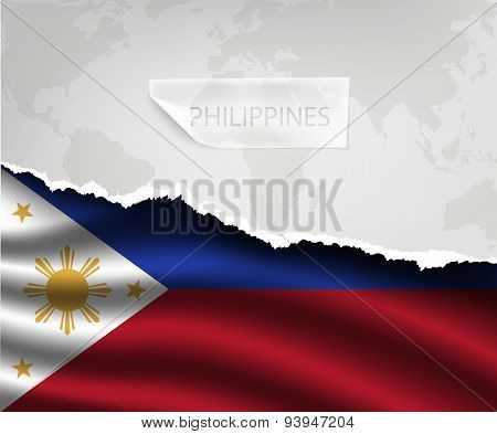 Paper With Hole And Shadows Philippines Flag