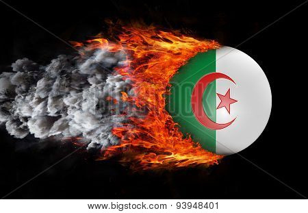 Flag With A Trail Of Fire And Smoke - Algeria