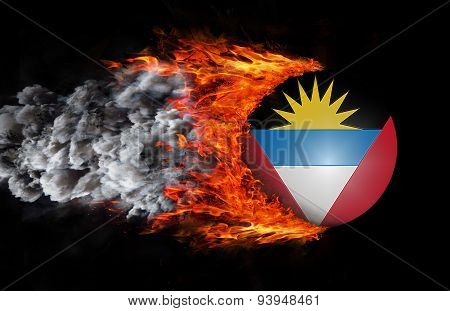 Flag With A Trail Of Fire And Smoke - Antigua And Barbuda