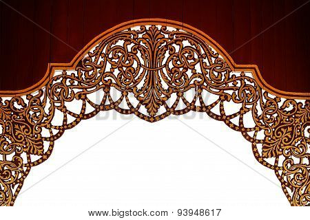 Arch Thai Style Pattern On White Isolated Background With Clipping Path.