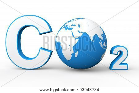 3d CO2 with earth globe
