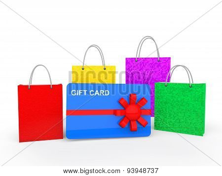 3d shopping bags and gift card
