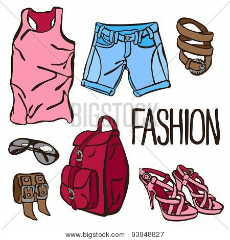 Summer fashion. City style. Vector illustration.