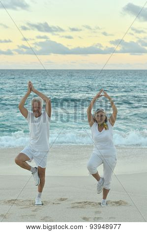 Senior couple exercising  in summer