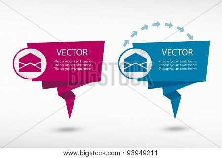 Open Envelope Icon On Origami Paper Speech Bubble Or Web Banner, Prints