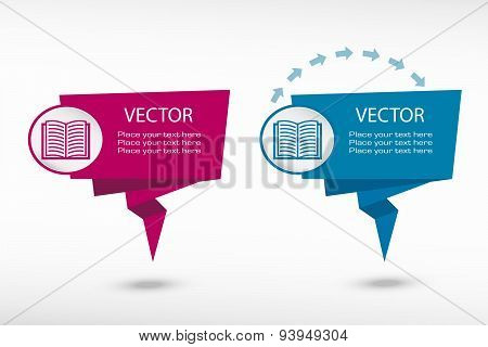 Book Icon On Origami Paper Speech Bubble Or Web Banner, Prints
