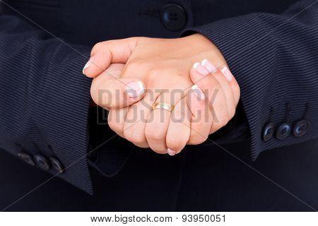 Public Speaker Making Hand Gesture