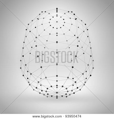 Wireframe Polygonal Element. Abstract Geometric 3D Object With Thin Lines
