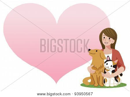 Woman Holding A Dog And A Cat
