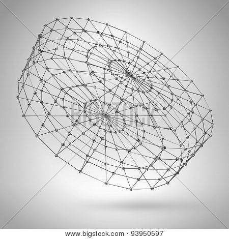 Wireframe Polygonal Element. 3D Cylinder With Lines And Dots