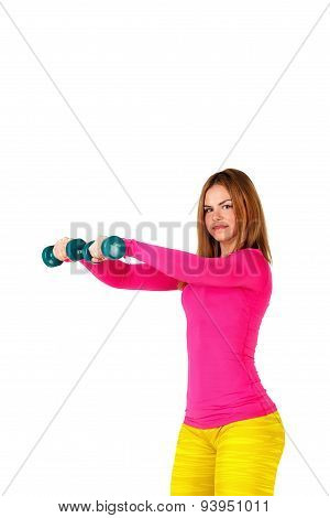 Sportswoman Doing Swings With Dumbbells.