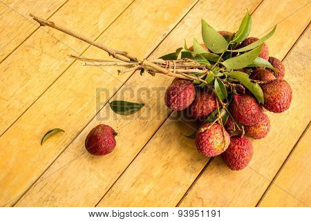 Lychee, Ripe Red Table Ready To Eat.