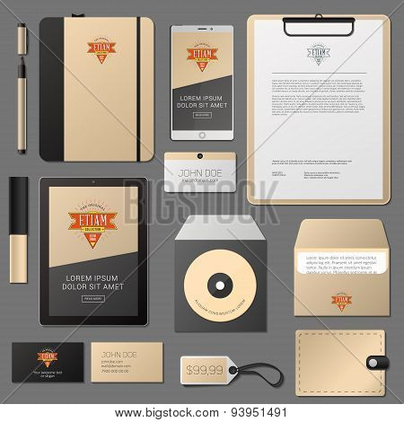 Classic Corporate Identity Template Design. Business Stationery Mock-up with Logo