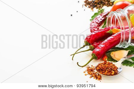 Many spices and herbs selection background for decorate design project.