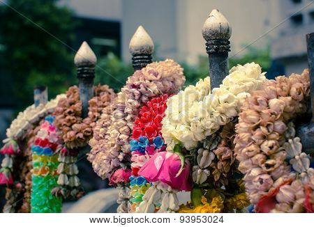 Close up of thai flower garland