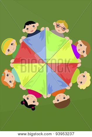 Children Holding Colourful Scarf In A Circle