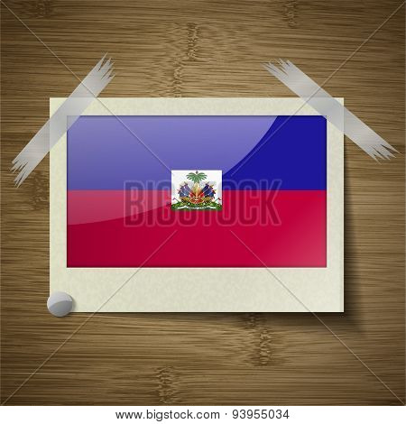 Flags Haiti At Frame On Wooden Texture. Vector