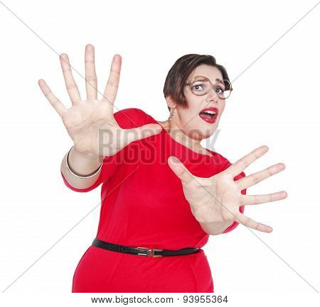 Scared Screaming Beautiful Plus Size Woman. Focus On Hands