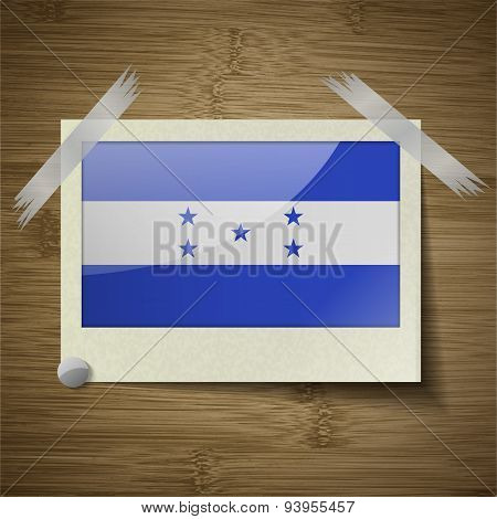 Flags Honduras At Frame On Wooden Texture. Vector