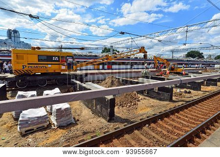 Moscow, Russia - 17.06.2015. Reconstruction Of The Railway At  Leningrad Station. In The Year Transp