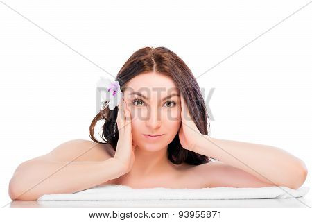 Portrait Of A Beautiful Brunette In A Spa Salon