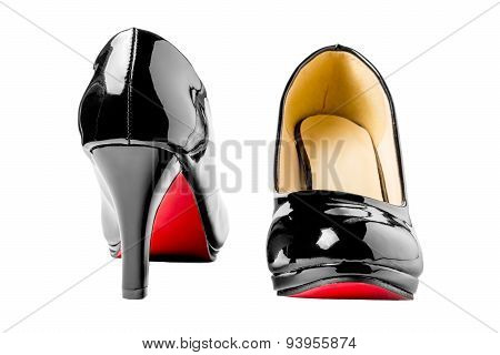 Black Patent Leather Shoes Close-up Isolated