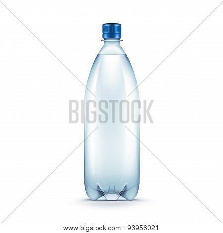 Vector Blank Plastic Blue Water Bottle