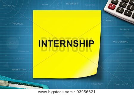 Internship Word On Yellow Note