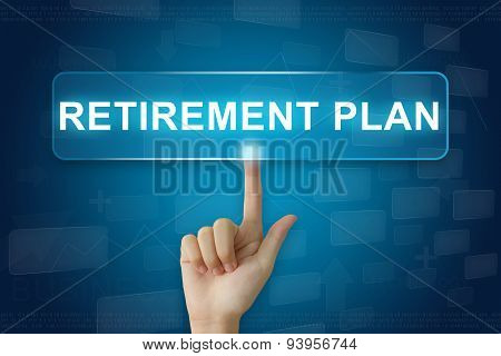 Hand Press On Retirement Plan Button On Touch Screen