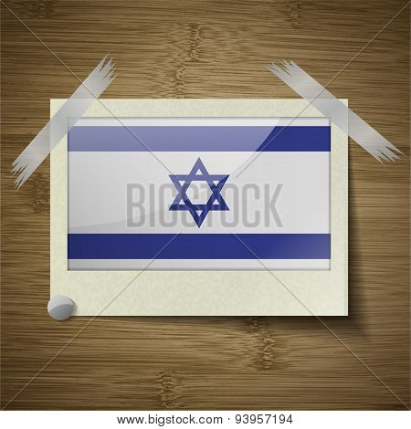 Flags Israel At Frame On Wooden Texture. Vector