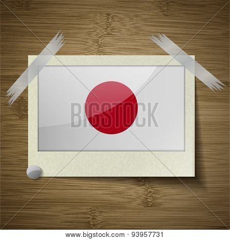 Flags Japan At Frame On Wooden Texture. Vector