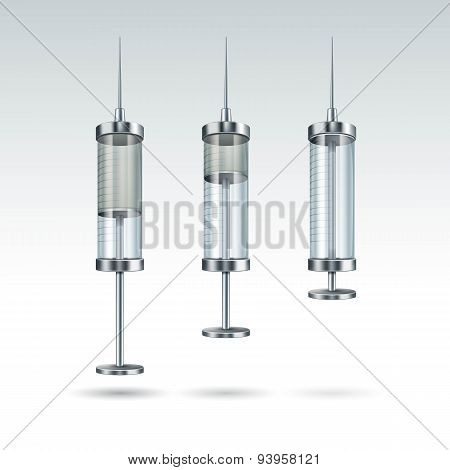 Vector Glass Medical Syringe Isolated on White