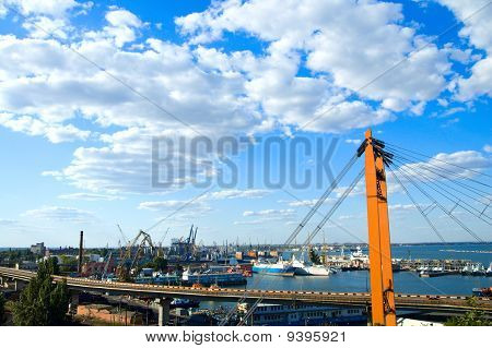 port in Odessa with suspended road