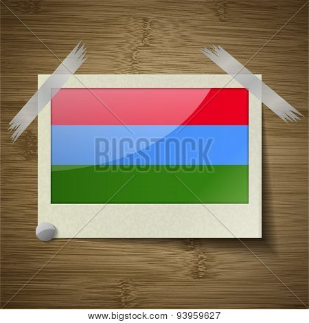 Flags Karelia At Frame On Wooden Texture. Vector