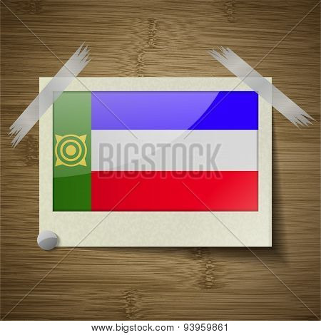 Flags Khakassia At Frame On Wooden Texture. Vector