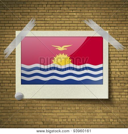 Flags Kiribati At Frame On A Brick Background. Vector