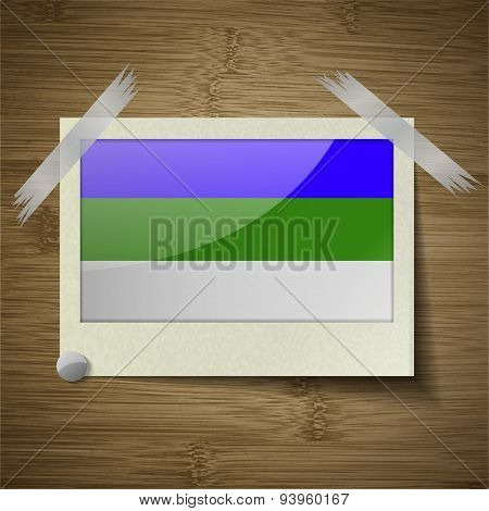 Flags Komi At Frame On Wooden Texture. Vector