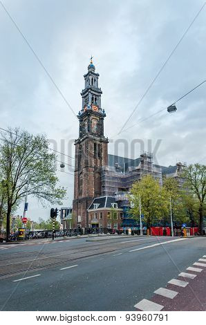 Amsterdam, Netherlands - May 6, 2015: Westerkerk (western Church) A Dutch Protestant Church