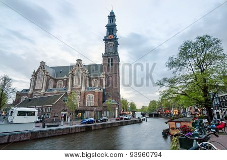 Amsterdam, Netherlands - May 6, 2015: People At Westerkerk (western Church)