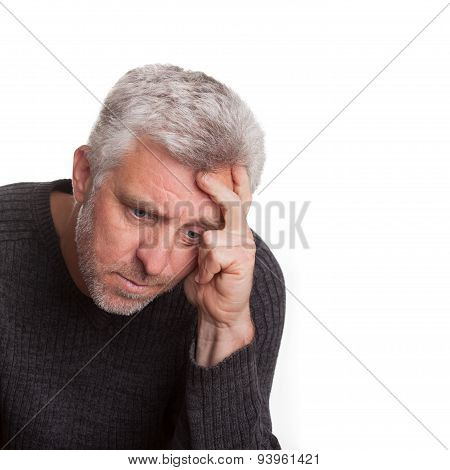 Elderly Man Lost In Depression Thought