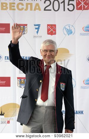 ST. PETERSBURG, RUSSIA - JUNE 12, 2015: Ex World and Olympic champion Vyacheslav Ivanov during the award ceremony of the Golden Blades Regatta. It is is one of the best known regatta in Russia