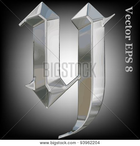 Vector letter y from metal gothic alphabet. Lovercase metal font collection EPS 8