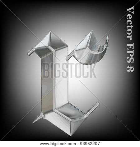 Vector letter r from metal gothic alphabet. Lovercase metal font collection EPS 8
