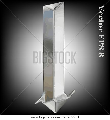 Vector letter l from metal gothic alphabet. Lovercase metal font collection EPS 8