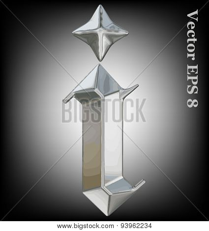 Vector letter i from metal gothic alphabet. Lovercase metal font collection EPS 8