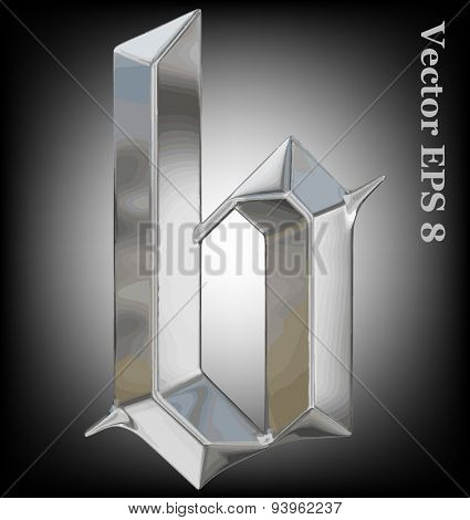 Vector letter b from metal gothic alphabet. Lovercase metal font collection EPS 8
