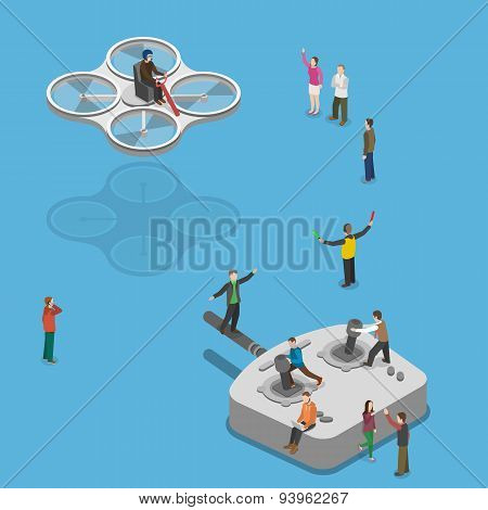 Flying quadcopter isometric flat vector concept.